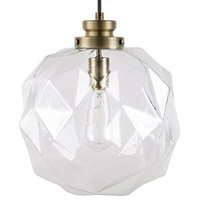 Modern Glass Faceted Orb Pendant With Antique Brass Accents