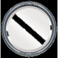 "Contessa Framed Round Mirror in Black Silver, 15""x15"""