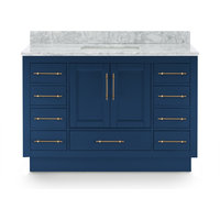 Kendall Blue Bathroom Vanity With Plinth Base, 48""