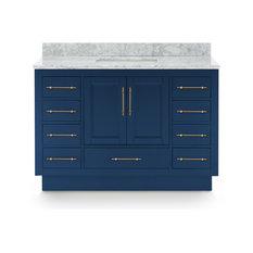 "Kendall Blue Bathroom Vanity With Plinth Base, 48"""