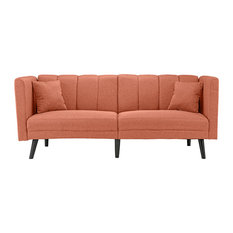 Sofamania   Mid Century Plush Tufted Linen Fabric Sleeper Futon Sofa, Orange    Sleeper Sofas