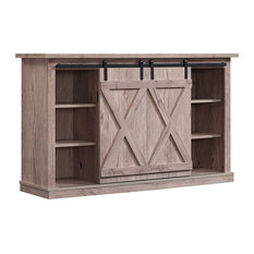 Farmhouse TV Stand Sliding Barn Style Doors And Open Compartments Ashland Pine