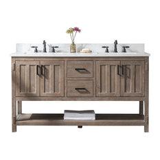"Harvey Farmhouse Bathroom Sink Vanity Brown Spruce, 60"""