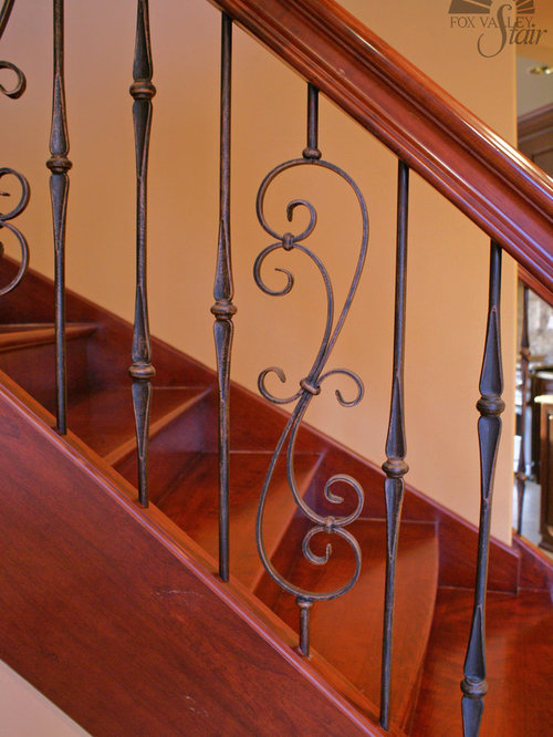 Huge Traditional Wooden Floating Staircase Idea In Chicago