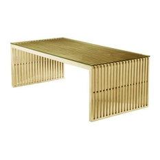 Maya Steel Rectangular Coffee Table, Brushed Gold