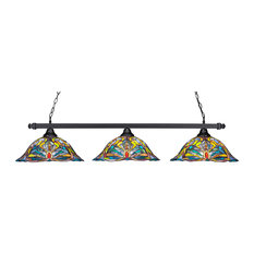 "Square 3 Light Bar In Matte Black, 19"" Kaleidoscope Tiffany Glass"