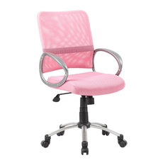 BOSS   Boss Mesh Back With Pewter Finish Task Chair, Pink   Office Chairs