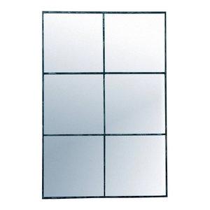 Window Pane Wall Mirror with Distressed Black Metal Frame, 80x118 cm