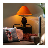 Rural table lamp with velvet shade pumpkin spice 50 cm - Sage