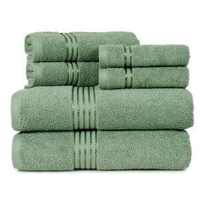 100% Cotton Hotel 6 Piece Towel Set by Lavish Home, Green