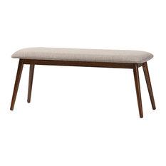Baxton Studio   Flora Mid Century Modern Wood Dining Bench, Light Gray, Oak