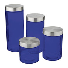 Table Top King   Anchor Hocking Callista 4 Piece Glass Canister Set,  Stainless Steel Lids