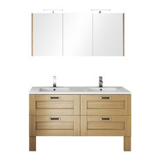 Cosy Natural Baltic Double Bathroom Vanity Unit, 140 cm