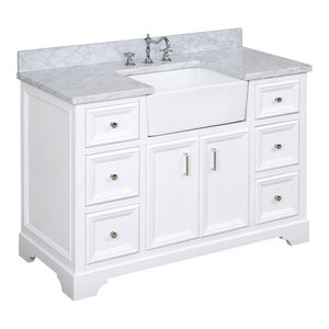 "Zelda Bathroom Vanity, Base: White, 48"", Top: Carrara Marble, Single Sink"