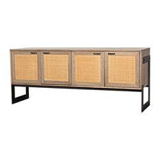 76-inch Long Sideboard Solid Walnut Rattan Doors Black Metal Stand Four Doors