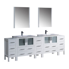 Fresca Torino Double Sink Vanity, 3 Side Cabinets and Integrated Sinks, Mirrors