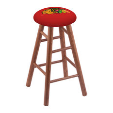 Oak Extra Tall Bar Stool Medium Finish With Chicago Blackhawks Seat 36-inch