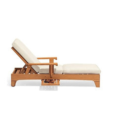 Teak Outdoor Patio Caranas Chaise Lounger With Side Tray, Set of 2
