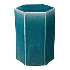 Porto Side Table, Azure Ceramic, Large