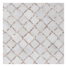 Veil 13.8 in. x 13.8 in. Polished Marble and Pearl Wall Tile, Diana