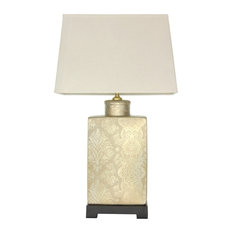 """24"""" Finch in the Blossoms Porcelain Lamp"""