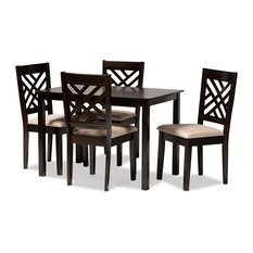 Modern Sand Fabric Upholstered Espresso Brown Finished Wood 5-Piece Dining Set