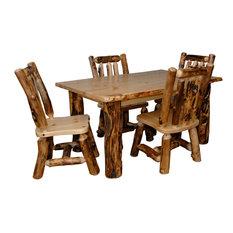 Furniture Barn USA   Rustic Aspen Log Kitchen Table Set Table U0026 4 Dining  Chairs