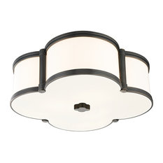 "Chandler, 16"" Flush Mount, Old Bronze Finish, Glass Shade"