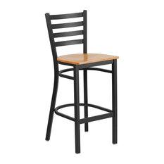 Hercules Series Black Ladder Back Metal Restaurant Barstool Natural Wood Seat