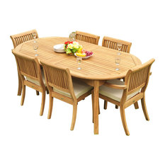 """7-Piece Outdoor Teak Dining Set: 117"""" Oval Extn Table, 6 Arbor Stacking Chairs"""