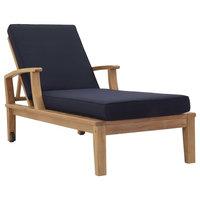 Marina Outdoor Premium Grade A Teak Wood Single Chaise, Natural/Navy