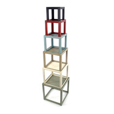 Rustic Towerlike Colorful Wooden Corner Shelf With 6-Layer