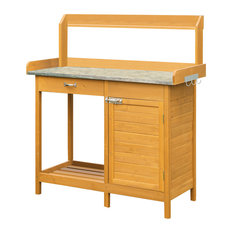 convenience concepts potting bench with cabinet light oak potting benches