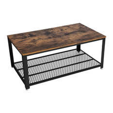 Metal Frame Coffee Table With Wooden Top And Mesh Bottom Shelf Brown And Black