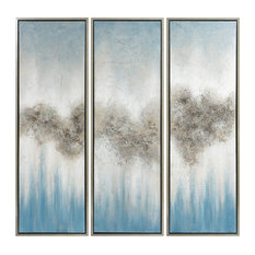 Abstract Triptych Set Canvas Textured Metallic Hand Painted Wall Art