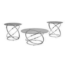 Hollynyx Table Set, Coffee Table and 2 End Tables, Chrome