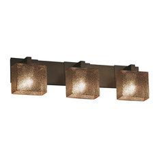 Fusion Modular 3-Light Bath Bar, Rectangle, Dark Bronze, Mercury Glass Shade