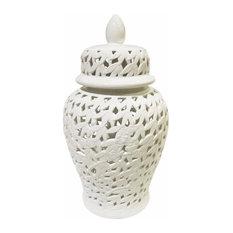 Elegantly Styled Pierced Ceramic Temple Jar, White