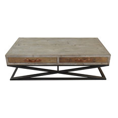 Moti   Syracuse Cocktail Table Metal Base Wood Top And Leather Strap   Coffee  Tables