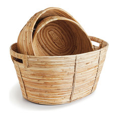 Cane Rattan Oval Baskets with Handles Set/3