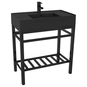 Modern Matte Black Ceramic Console Sink and Matte Black Base, One Hole