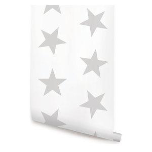 "Star Peel-and-Stick Wallpaper, Gray, 24""x108"""