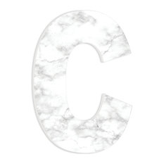 """Modern White and Grey Marble Patterned C 18"""" Oversized Initial"""