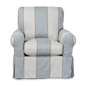 Sunset Trading Horizon Slipcovered Swivel Rocking Chair Blue Striped