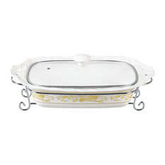 "Gold Rose Design 15"" Rectangular Casserole With Metal Stand"
