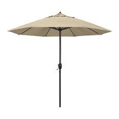 9' Bronze Auto-tilt Crank Aluminum Umbrella, Beige Pacifica