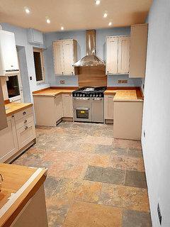 What Colour Kitchen Walls Grey Units Oak Worktops Houzz Uk