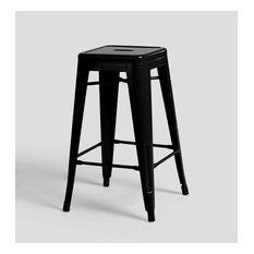 Tolix Style Counter Stool Black Set Of 4