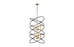Fenton Gold 8-Light 2-tier Candelabra Chandelier, Black Geometric Pattern Cage