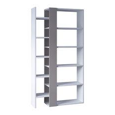 Ultra Modern Bookcase Unique Design With Plenty Storage Space White Light Moch